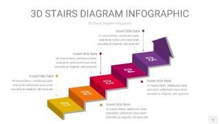 多色3D阶梯PPT图表5