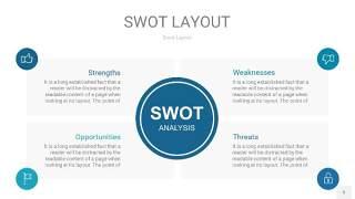 铁蓝色SWOT图表PPT5