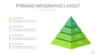 浅绿色3D金字塔PPT信息图表3