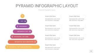 渐变紫黄色3D金字塔PPT信息图表10