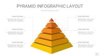 渐变黄色3D金字塔PPT信息图表4