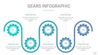 蓝绿色齿轮PPT信息图16