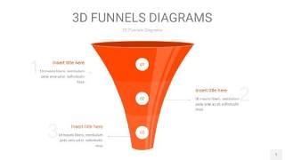 橘红色3D漏斗PPT信息图表1