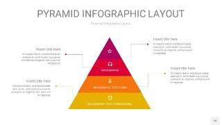 红黄色3D金字塔PPT信息图表18