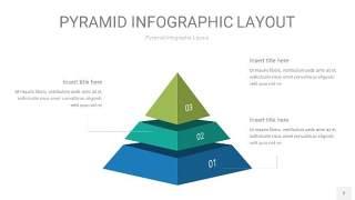 黄蓝绿色3D金字塔PPT信息图表2