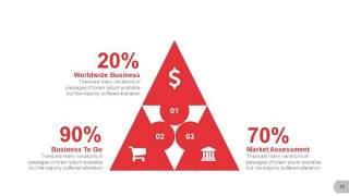 红色三角形创意信息可视化PPT图表15