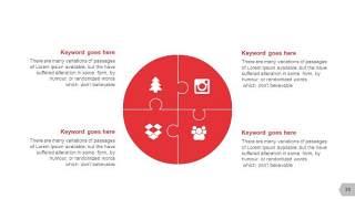 红色图形创意信息可视化PPT图表35