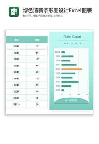 绿色清新条形图设计Excel图表模板
