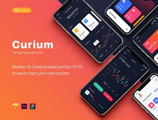 多用途的iOS UI套件素描,XD和FIGMA,锔 - 金融工具的用户界面