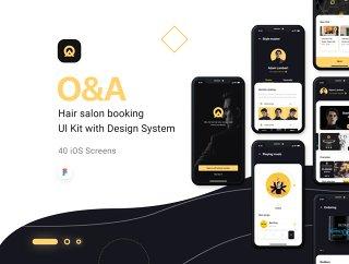 40个+屏幕设计理发预订应用程序,O&A  - 理发订房UI工具包