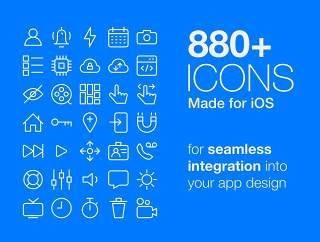 880项多优质的图标进行无缝集成,图标包 - 专为iOS版