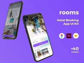 高品质的酒店预订应用程序UI套件专为素描,Adobe公司的XD和FIGMA,客房酒店的UI套件