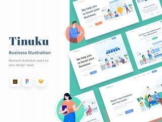 原子插图商业网站,Tinuku  - 启动网站商业插画