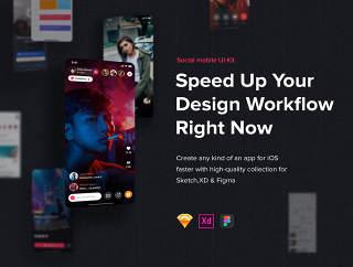 使用Sketch,XD和FIGMA,Jazam设计的社交移动UI工具包 - 社交移动应用UI工具包