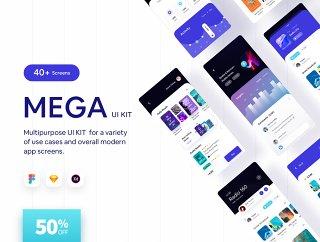 适用于设计师的40多款iOS App UI帮助工具包,Mega | iOS App UI帮助工具包