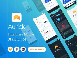 99+ iOS应用程序的UI工具包的设计师和开发人员,Aurick  - 企业移动UI套件