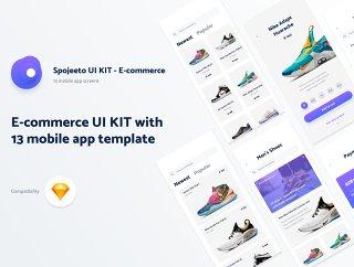 13 iPhone X电子商务UI KIT模板通过流行的移动应用程序的设计模式的启发,电子商务Spojeeto移动应用UI套件