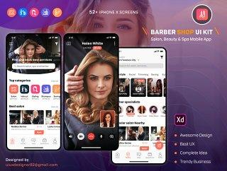 52+屏幕理发,沙龙,美容和水疗iOS UI套件,理发和沙龙UI工具包
