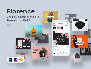创新社会化媒体模板VOL.1  - 用Photoshop,素描和XD,佛罗伦萨VOL.1工程