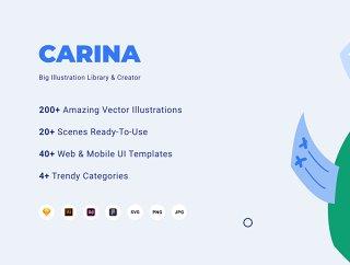 200+插图,场景20 +,40 + Web和移动设备用户界面模板,刘嘉玲插图图书馆和造物主