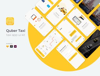 Kuber Taxi Driver UI套件采用Sketch,XD和Figma,KUBER Taxi App UI UX Kit设计