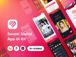 39+社交应用的UI工具包设计师和开发人员,Swasti  - 社交应用的UI套件素描模板