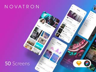 与几十个成分独特,时尚新潮和UI套件,Novatron iOS的UI套件