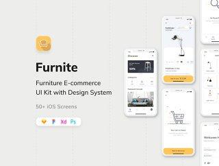 50+ iPhone的iOS X屏幕为家具电子商务应用UI套件,Furnite  - 家具电子商务UI KIT