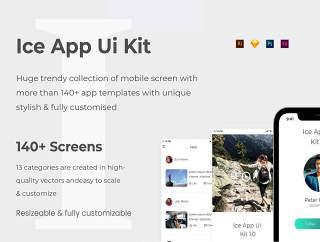 冰的iOS UI套件XD,插画,Photoshop和素描,冰应用UI工具包