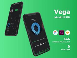 高品质音乐应用的iOS UI套件专为素描,Adobe公司的XD和FIGMA,维加音乐IOS UI工具包