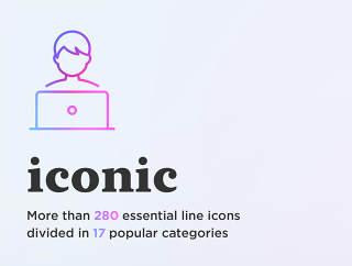 超过280个基本线图标分为17个热门类别,标志性。基本线图标设置