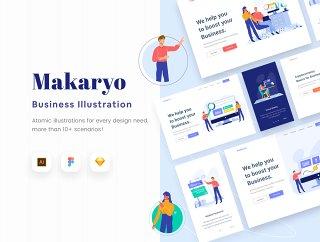 原子插图电子商务网站,Makaryo  - 启动网站电子商务插图