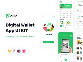 Wallie  - 数字钱包应用程序UI KIT,Wallie  - 数字钱包应用程序UI KIT