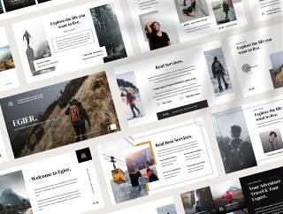 户外探险和旅游展示布局,也利用品牌指导你的产品,EIGER  - 室外演示模板