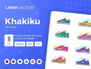 有9真棒独特的插图的任何项目,Khakiku  - 鞋插图