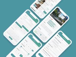 高品质的酒店预订应用程序UI套件设计草图及FIGMA和Adobe XD,Cesha  - 酒店预订及预订应用程序UI工具包
