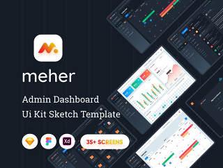 引导UI套件,用于管理仪表板和Web服务,梅赫尔 - 管理员板UI套件素描模板