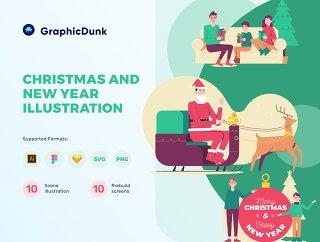 圣诞节和新年炫彩插图包,圣诞节和新年炫彩插图