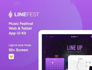 LineFest包含您将需要在节日的所有细节,LineFest  - 音乐节网络及平板电脑应用的UI套件
