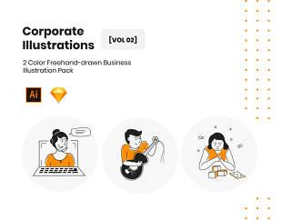 2彩色手绘绘制插图业务为Web和移动设备,企业插图包装体积-2