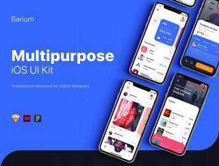 多用途的iOS UI套件素描,XD和FIGMA,钡UI工具包