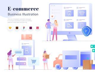 电子商务商业插画KIT,电子商务业务展示KIT