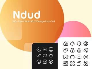 简单的线条ui ux图标集,Ndud 100+简单线条基本UI / UX图标集