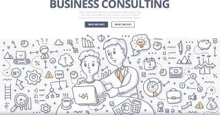 扁平化商务商业管理咨询涂鸦概念图案插画矢量素材