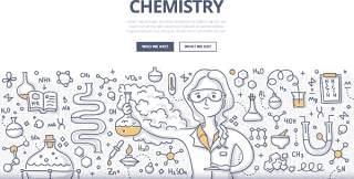 扁平化商务化学涂鸦概念图案插画矢量素材