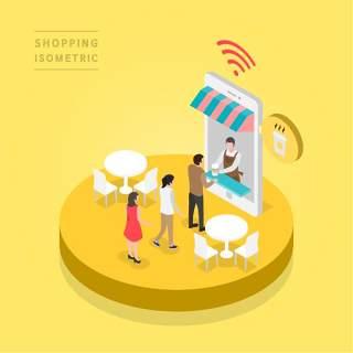 创意时尚2.5D等距视角人物购物促销社交场景舞台插画矢量素材19
