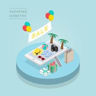 创意时尚2.5D等距视角人物购物促销社交场景舞台插画矢量素材13