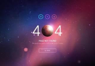 星空宇宙星球网页404错误页面PSD模板02