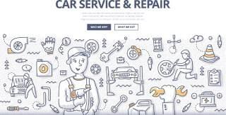 扁平化商务汽车维修涂鸦概念图案插画矢量素材