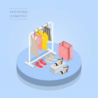 创意时尚2.5D等距视角人物购物促销社交场景舞台插画矢量素材01